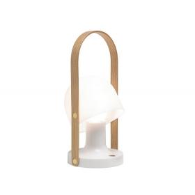 Lampa stołowa z drewnianymi elementami